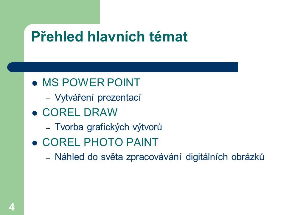 4 Přehled hlavních témat MS POWER POINT – Vytváření prezentací COREL DRAW – Tvorba grafických výtvorů COREL PHOTO PAINT – Náhled do světa zpracovávání digitálních obrázků