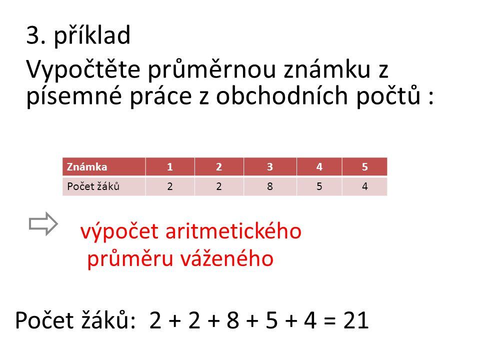 3. příklad Vypočtěte průměrnou známku z písemné práce z obchodních počtů :  výpočet aritmetického průměru váženého Počet žáků: 2 + 2 + 8 + 5 + 4 = 21