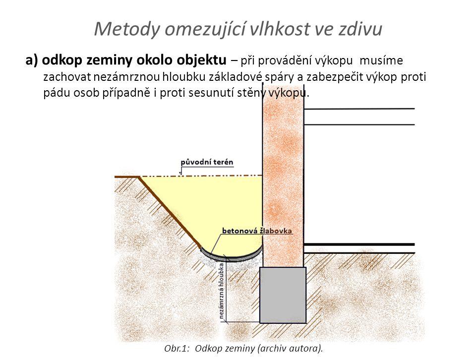 Metody omezující vlhkost ve zdivu a) odkop zeminy okolo objektu – při provádění výkopu musíme zachovat nezámrznou hloubku základové spáry a zabezpečit