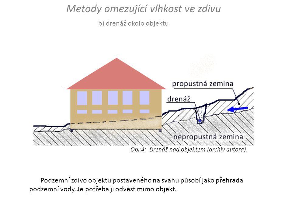 Podzemní zdivo objektu postaveného na svahu působí jako přehrada podzemní vody. Je potřeba ji odvést mimo objekt. b) drenáž okolo objektu Metody omezu