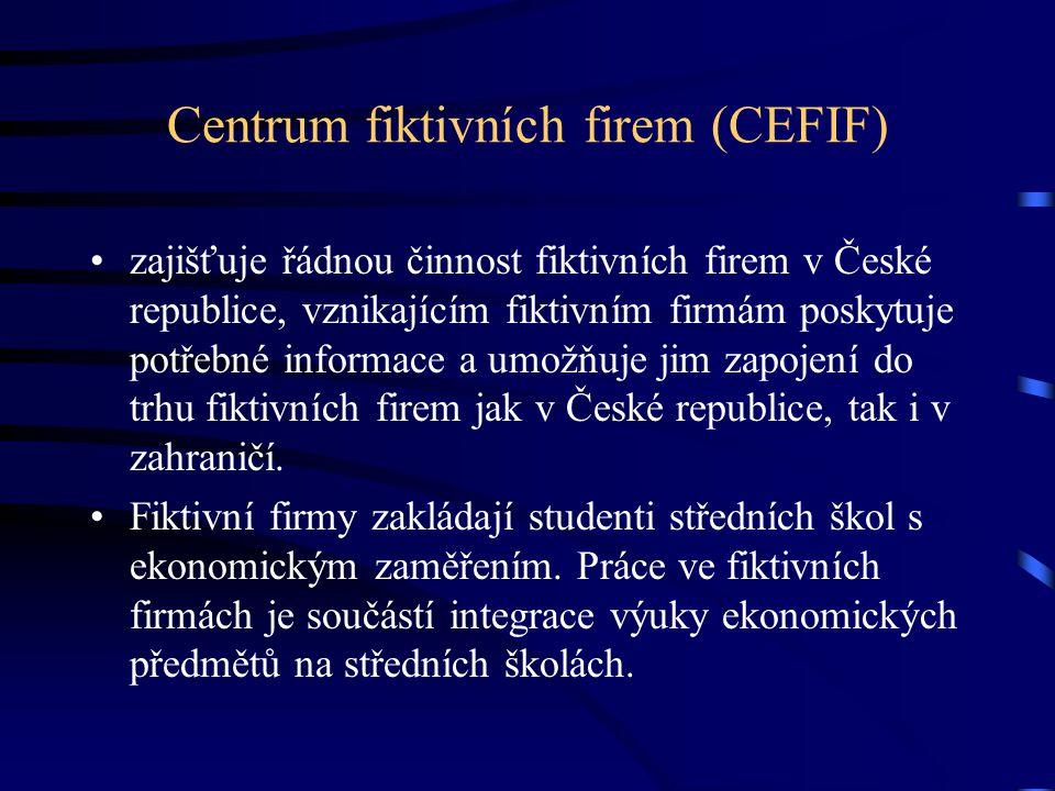 Centrum fiktivních firem (CEFIF) zajišťuje řádnou činnost fiktivních firem v České republice, vznikajícím fiktivním firmám poskytuje potřebné informace a umožňuje jim zapojení do trhu fiktivních firem jak v České republice, tak i v zahraničí.
