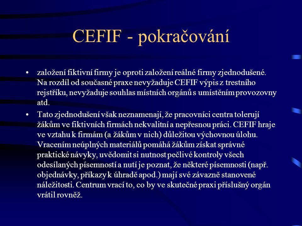CEFIF - pokračování založení fiktivní firmy je oproti založení reálné firmy zjednodušené.