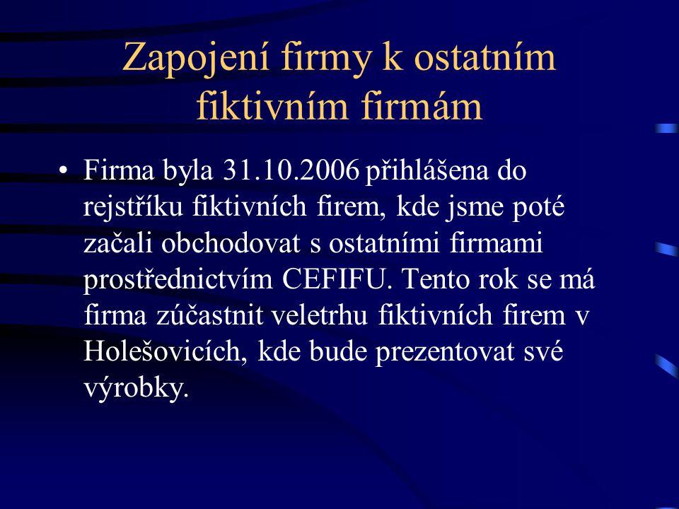 Zapojení firmy k ostatním fiktivním firmám Firma byla 31.10.2006 přihlášena do rejstříku fiktivních firem, kde jsme poté začali obchodovat s ostatními firmami prostřednictvím CEFIFU.