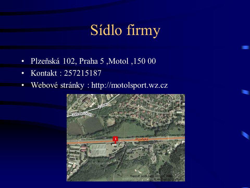 Sídlo firmy Plzeňská 102, Praha 5,Motol,150 00 Kontakt : 257215187 Webové stránky : http://motolsport.wz.cz
