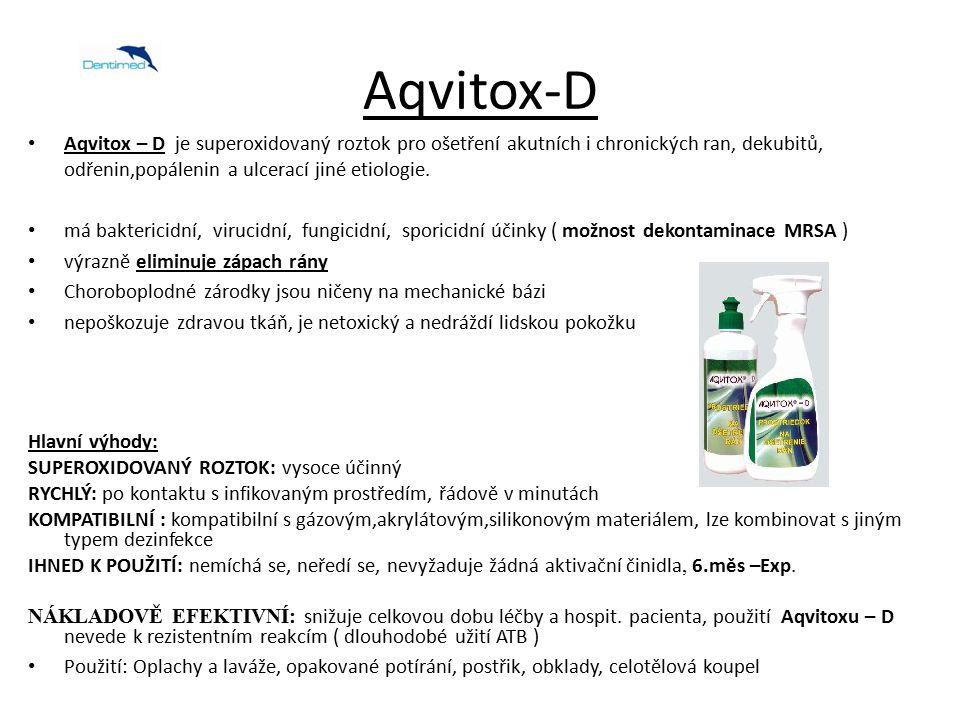 Aqvitox-D Aqvitox – D je superoxidovaný roztok pro ošetření akutních i chronických ran, dekubitů, odřenin,popálenin a ulcerací jiné etiologie.