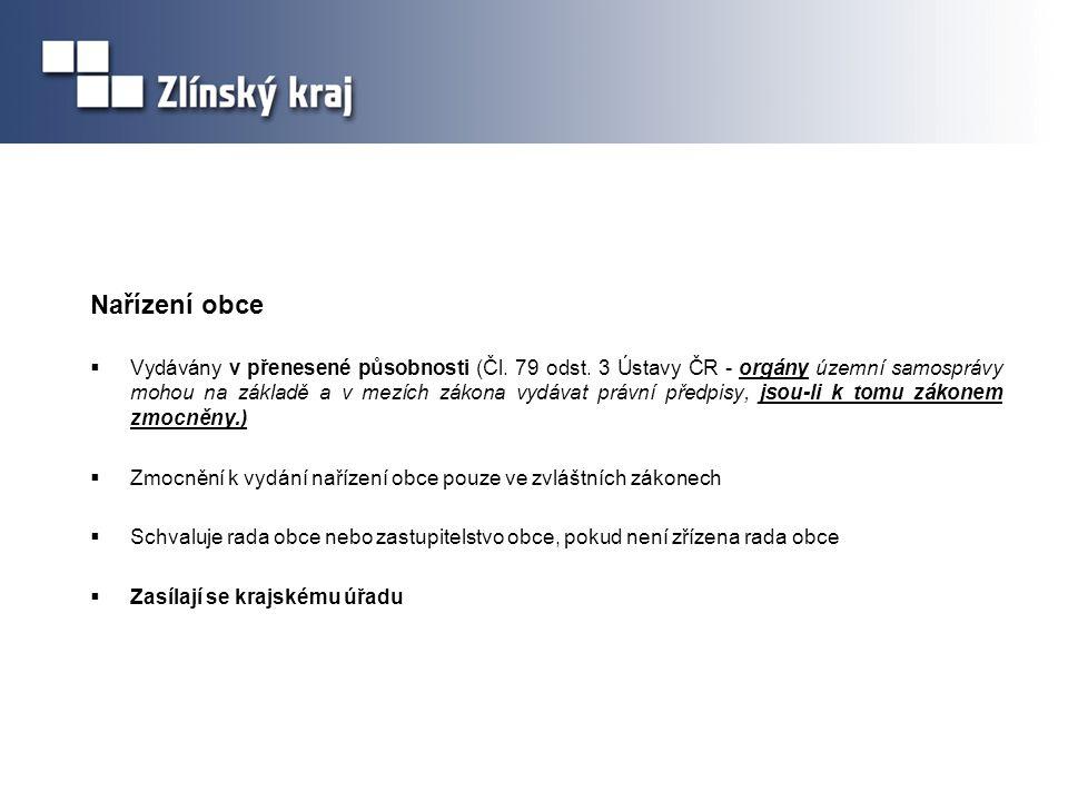 Nařízení obce  Vydávány v přenesené působnosti (Čl. 79 odst. 3 Ústavy ČR - orgány územní samosprávy mohou na základě a v mezích zákona vydávat právní