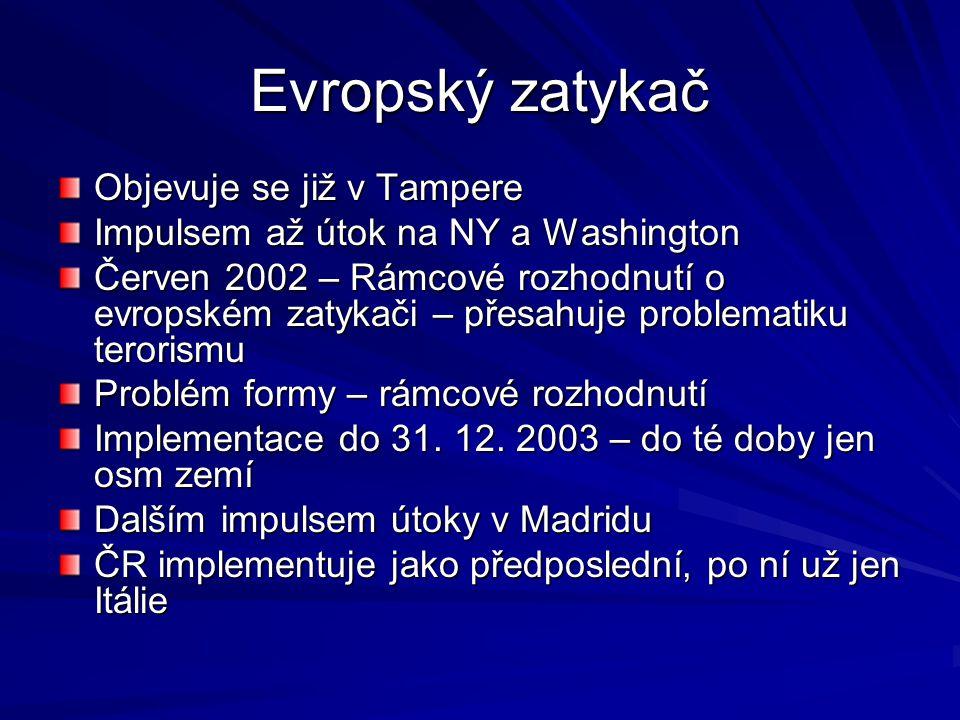 Evropský zatykač Objevuje se již v Tampere Impulsem až útok na NY a Washington Červen 2002 – Rámcové rozhodnutí o evropském zatykači – přesahuje problematiku terorismu Problém formy – rámcové rozhodnutí Implementace do 31.