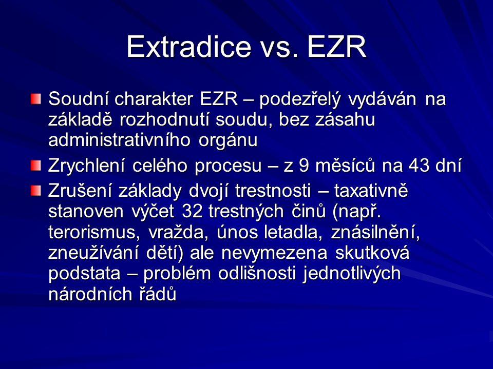 Extradice vs. EZR Soudní charakter EZR – podezřelý vydáván na základě rozhodnutí soudu, bez zásahu administrativního orgánu Zrychlení celého procesu –