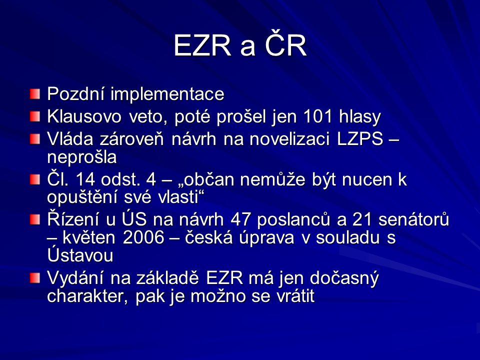 """EZR a ČR Pozdní implementace Klausovo veto, poté prošel jen 101 hlasy Vláda zároveň návrh na novelizaci LZPS – neprošla Čl. 14 odst. 4 – """"občan nemůže"""