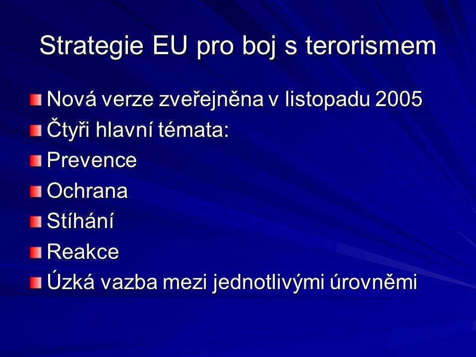 Strategie EU pro boj s terorismem Nová verze zveřejněna v listopadu 2005 Čtyři hlavní témata: PrevenceOchranaStíháníReakce Úzká vazba mezi jednotlivým
