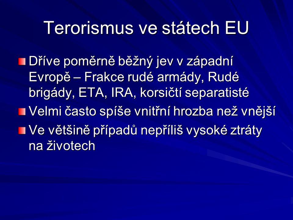 Terorismus ve státech EU Dříve poměrně běžný jev v západní Evropě – Frakce rudé armády, Rudé brigády, ETA, IRA, korsičtí separatisté Velmi často spíše