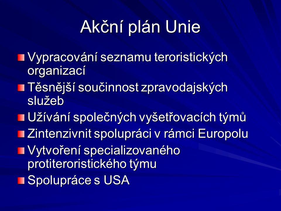 Akční plán Unie Vypracování seznamu teroristických organizací Těsnější součinnost zpravodajských služeb Užívání společných vyšetřovacích týmů Zintenzivnit spolupráci v rámci Europolu Vytvoření specializovaného protiteroristického týmu Spolupráce s USA