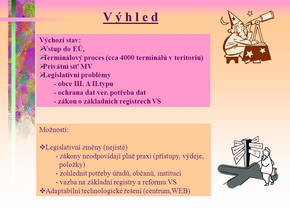 Technologické řešení Pouze silné centrum + WEB technologie Postupná realizace – etapy řešení 2002(2003) -Dokončení virtualní vrstvy sítě MV -Posílení centra, základ záložního centra -Zahájení tvorby WEB aplikací -Síťové připojení obecních úřadů obcí s rozšířenou působností 2003(2005-6) -Zajištění terninálového procesu na obcích III.typu -Dokončení centra a záložního centra (SAN) -Pokračování na WEB aplikacích -Souběžný provoz WEB a terminálových aplikací 2004(2006) -Pouze centrální systém -WEB aplikace -Nové řidič.