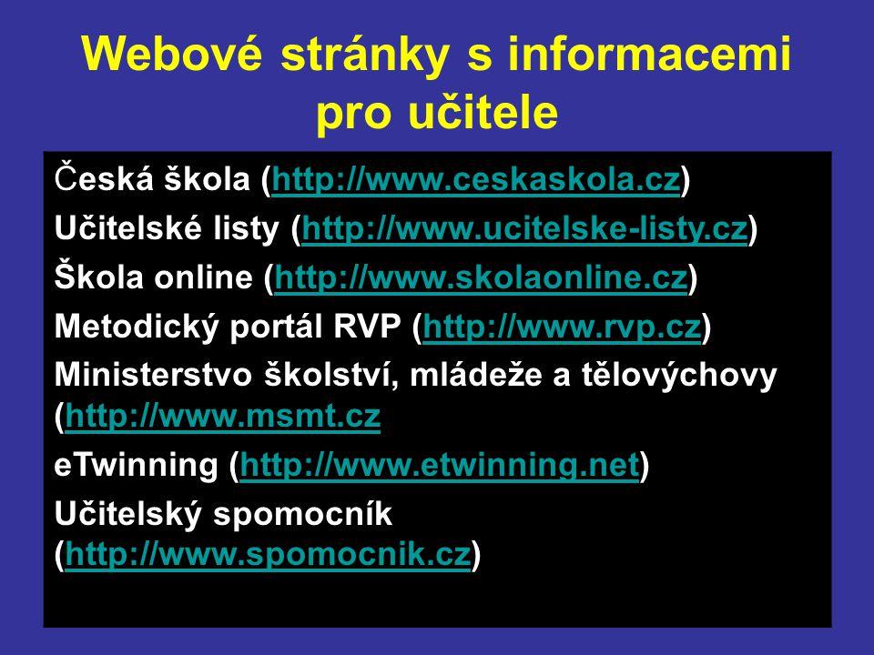 Webové stránky s informacemi pro učitele Česká škola (http://www.ceskaskola.cz)http://www.ceskaskola.cz Učitelské listy (http://www.ucitelske-listy.cz)http://www.ucitelske-listy.cz Škola online (http://www.skolaonline.cz)http://www.skolaonline.cz Metodický portál RVP (http://www.rvp.cz)http://www.rvp.cz Ministerstvo školství, mládeže a tělovýchovy (http://www.msmt.cz)http://www.msmt.cz eTwinning (http://www.etwinning.net)http://www.etwinning.net Učitelský spomocník (http://www.spomocnik.cz)http://www.spomocnik.cz