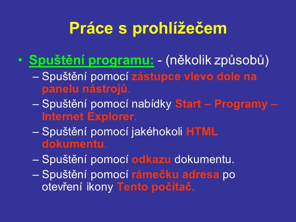 Práce s prohlížečem Spuštění programu: - (několik způsobů) –Spuštění pomocí zástupce vlevo dole na panelu nástrojů.