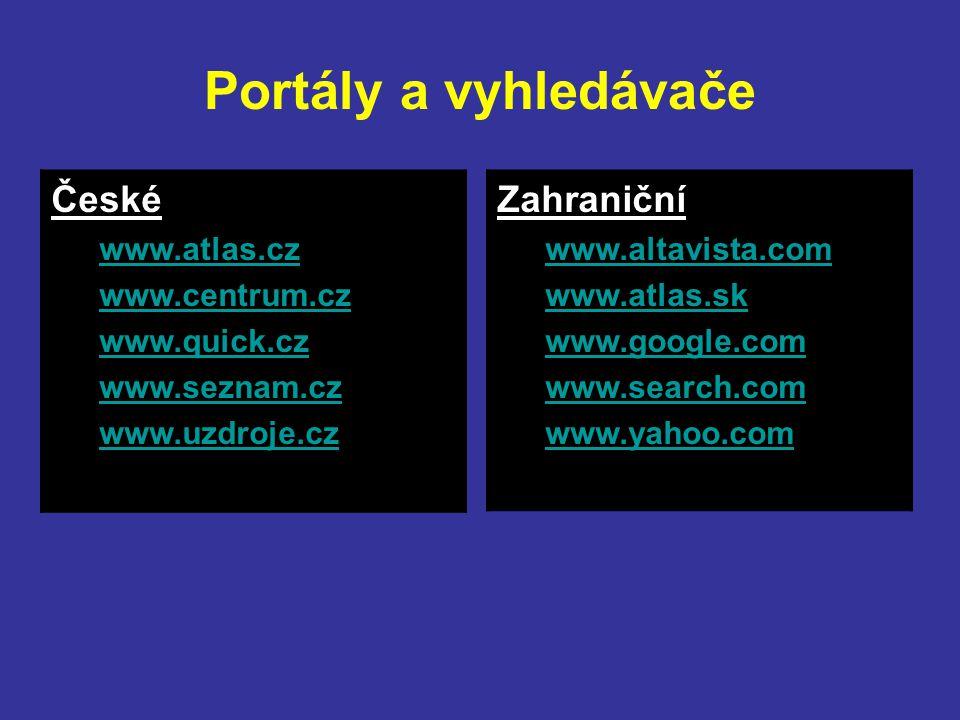 Portály a vyhledávače Zahraniční www.altavista.com www.atlas.sk www.google.com www.search.com www.yahoo.com České www.atlas.cz www.centrum.cz www.quick.cz www.seznam.cz www.uzdroje.cz