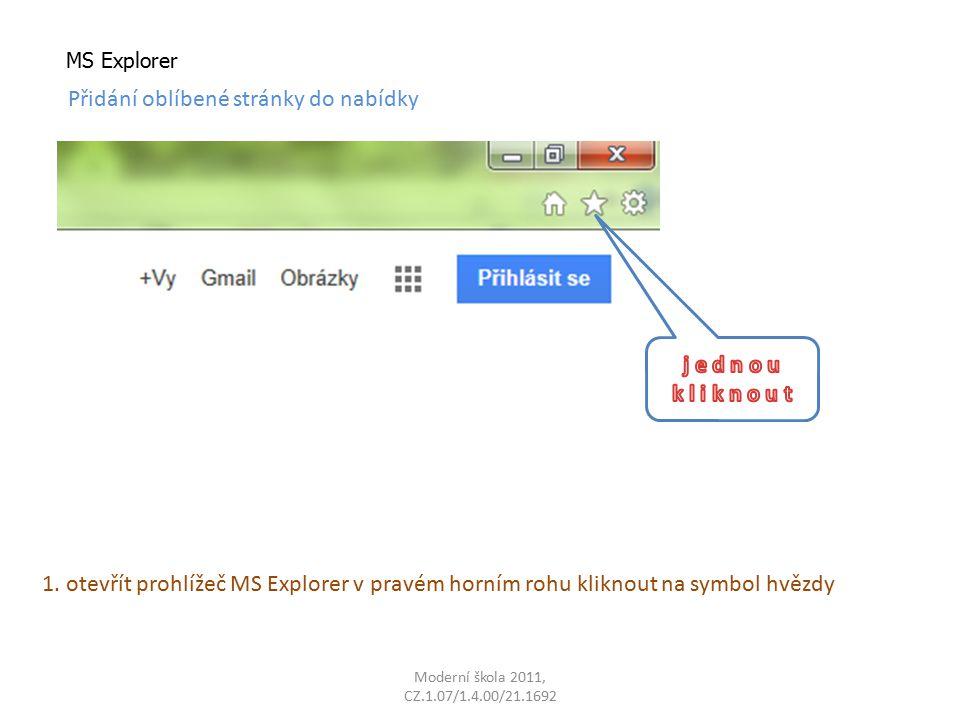 MS Explorer Přidání oblíbené stránky do nabídky 1.