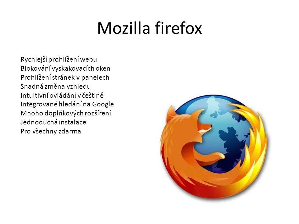 Mozilla firefox Rychlejší prohlížení webu Blokování vyskakovacích oken Prohlížení stránek v panelech Snadná změna vzhledu Intuitivní ovládání v češtin