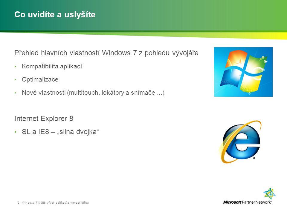 Co uvidíte a uslyšíte Přehled hlavních vlastností Windows 7 z pohledu vývojáře Kompatibilita aplikací Optimalizace Nové vlastnosti (multitouch, lokáto