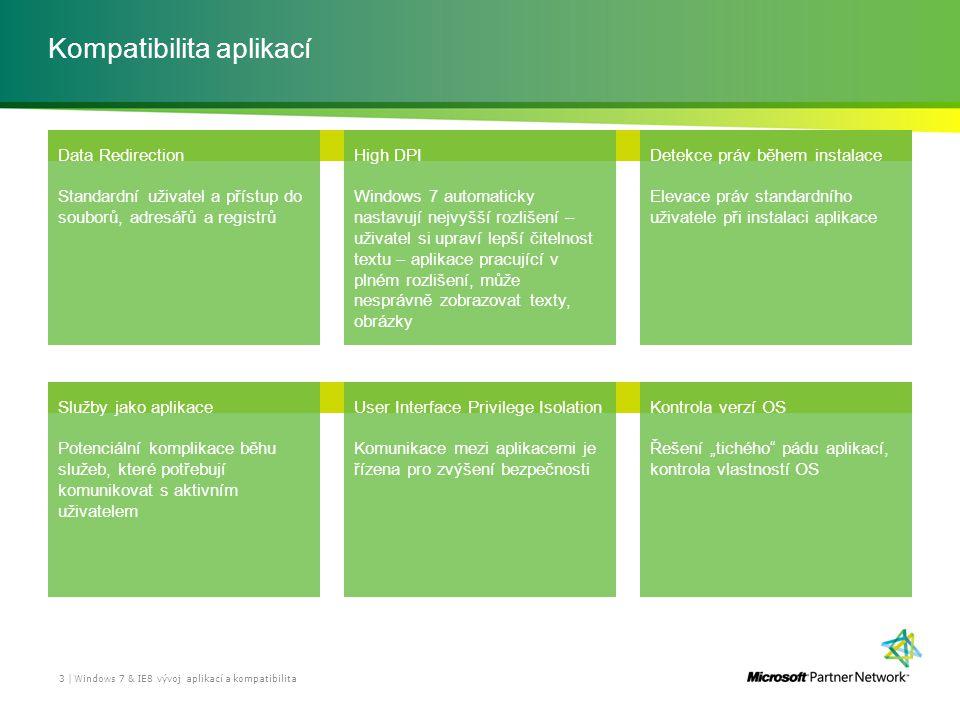 Kompatibilita aplikací Windows 7 & IE8 vývoj aplikací a kompatibilita 3 | Data Redirection Standardní uživatel a přístup do souborů, adresářů a regist