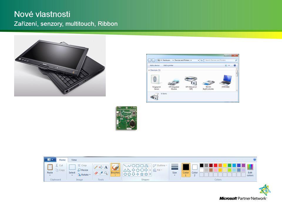 Nové vlastnosti Zařízení, senzory, multitouch, Ribbon