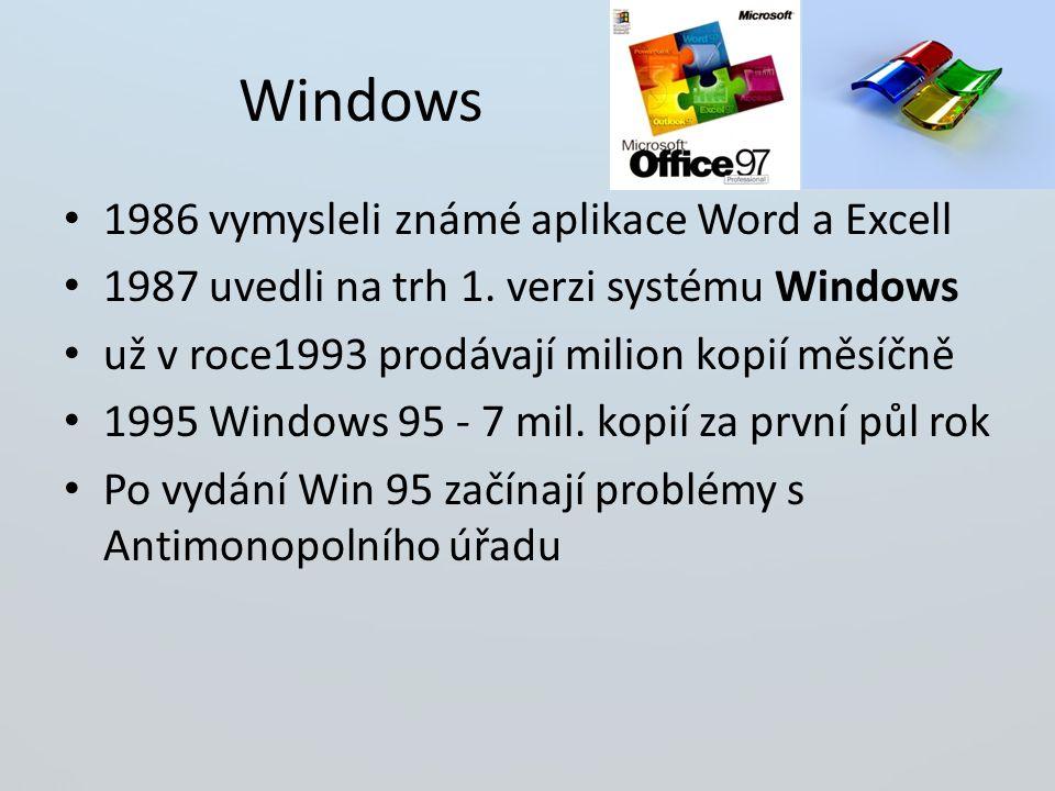 Windows 1986 vymysleli známé aplikace Word a Excell 1987 uvedli na trh 1.