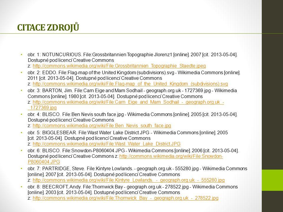 obr. 1: NOTUNCURIOUS. File:Grossbritannien Topographie Jlorenz1 [online]. 2007 [cit. 2013-05-04]. Dostupné pod licencí Creative Commons z: http://comm