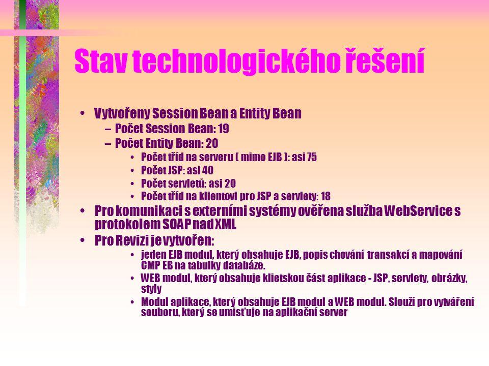 Stav technologického řešení Vytvořeny Session Bean a Entity Bean –Počet Session Bean: 19 –Počet Entity Bean: 20 Počet tříd na serveru ( mimo EJB ): asi 75 Počet JSP: asi 40 Počet servletů: asi 20 Počet tříd na klientovi pro JSP a servlety: 18 Pro komunikaci s externími systémy ověřena služba WebService s protokolem SOAP nad XML Pro Revizi je vytvořen: jeden EJB modul, který obsahuje EJB, popis chování transakcí a mapování CMP EB na tabulky databáze.