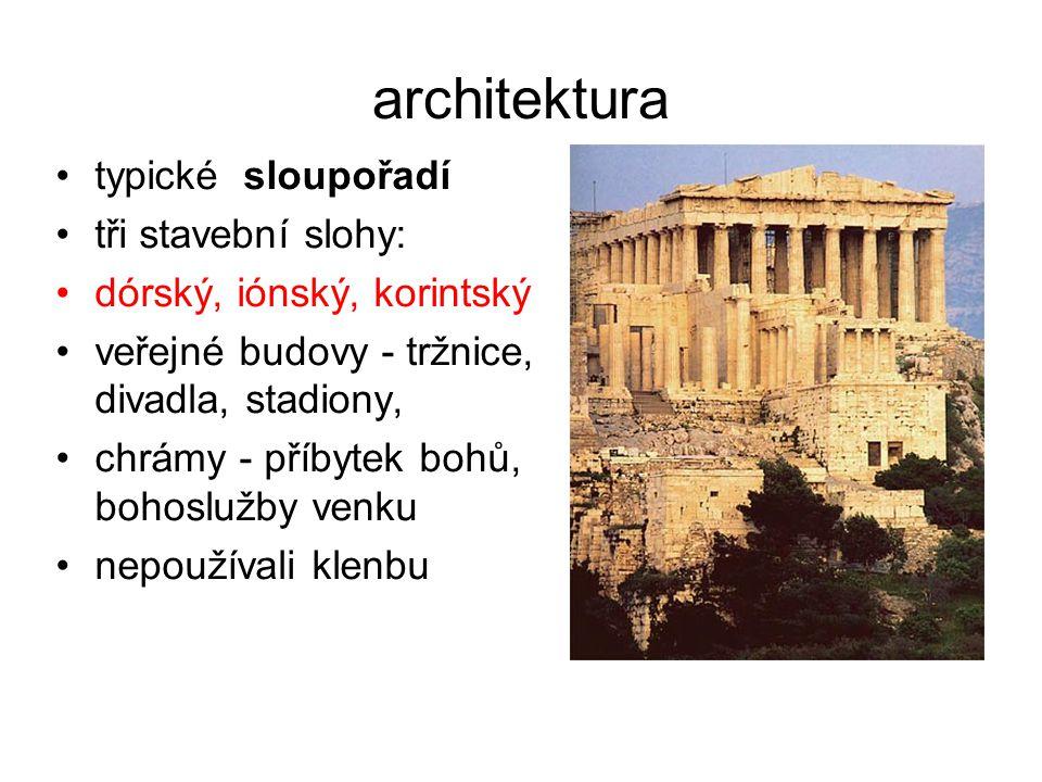 architektura typické sloupořadí tři stavební slohy: dórský, iónský, korintský veřejné budovy - tržnice, divadla, stadiony, chrámy - příbytek bohů, boh