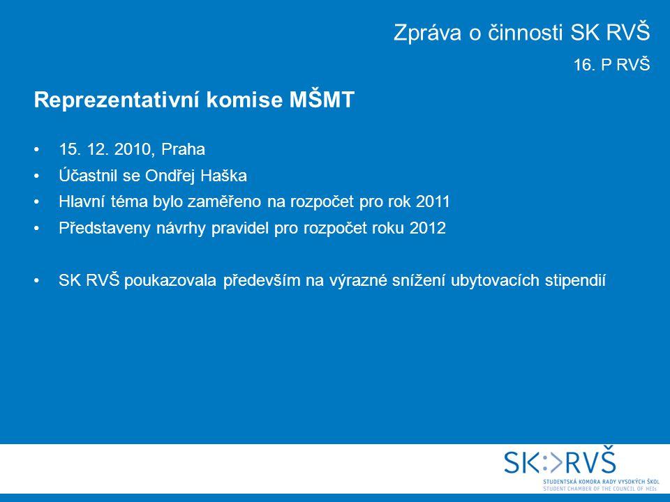 15. 12. 2010, Praha Účastnil se Ondřej Haška Hlavní téma bylo zaměřeno na rozpočet pro rok 2011 Představeny návrhy pravidel pro rozpočet roku 2012 SK