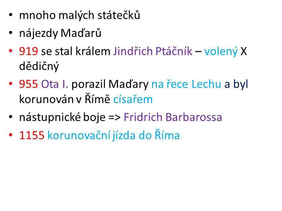 mnoho malých státečků nájezdy Maďarů 919 se stal králem Jindřich Ptáčník – volený X dědičný 955 Ota I. porazil Maďary na řece Lechu a byl korunován v