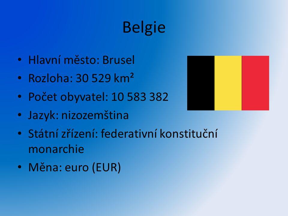 Belgie Hlavní město: Brusel Rozloha: 30 529 km² Počet obyvatel: 10 583 382 Jazyk: nizozemština Státní zřízení: federativní konstituční monarchie Měna: