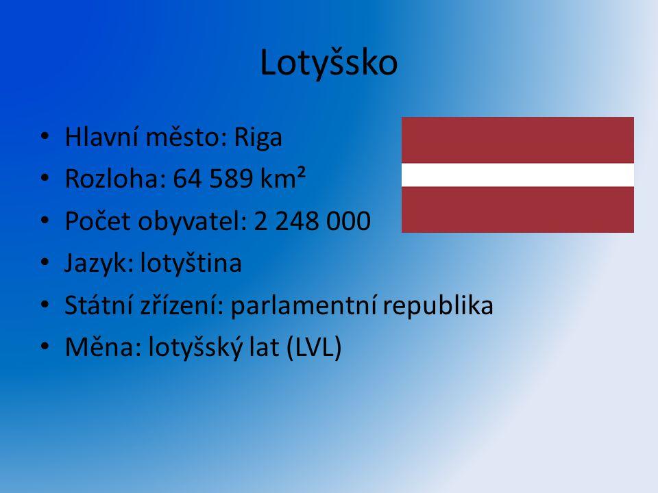 Lotyšsko Hlavní město: Riga Rozloha: 64 589 km² Počet obyvatel: 2 248 000 Jazyk: lotyština Státní zřízení: parlamentní republika Měna: lotyšský lat (L