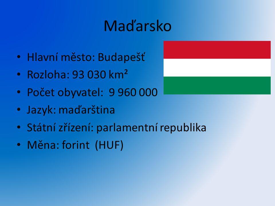 Maďarsko Hlavní město: Budapešť Rozloha: 93 030 km² Počet obyvatel: 9 960 000 Jazyk: maďarština Státní zřízení: parlamentní republika Měna: forint (HU