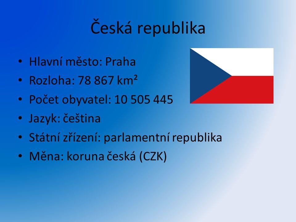 Česká republika Hlavní město: Praha Rozloha: 78 867 km² Počet obyvatel: 10 505 445 Jazyk: čeština Státní zřízení: parlamentní republika Měna: koruna č