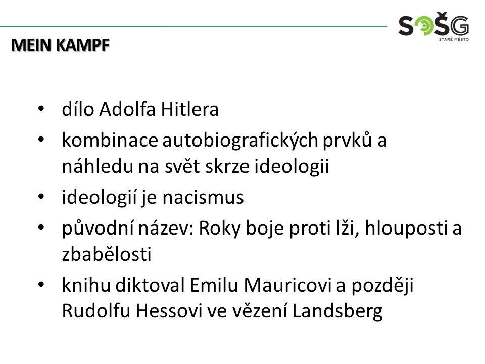Kolonialismus MEIN KAMPF dílo Adolfa Hitlera kombinace autobiografických prvků a náhledu na svět skrze ideologii ideologií je nacismus původní název: Roky boje proti lži, hlouposti a zbabělosti knihu diktoval Emilu Mauricovi a později Rudolfu Hessovi ve vězení Landsberg