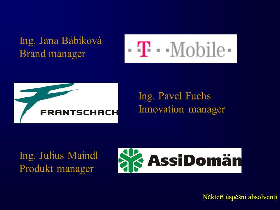 Někteří úspěšní absolventi Ing. Jana Bábíková Brand manager Ing.