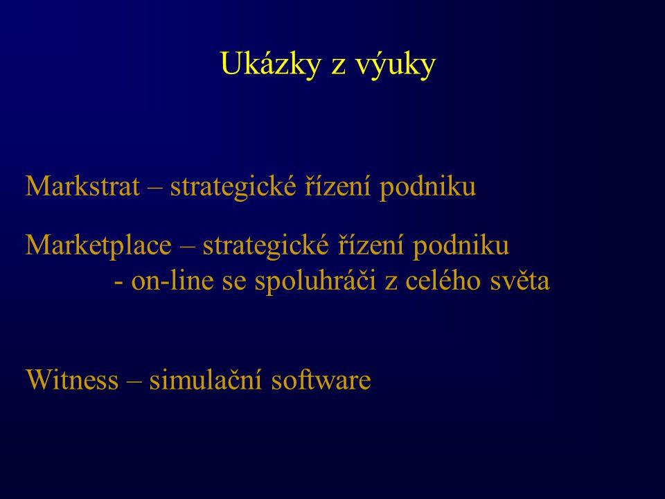 Ukázky z výuky Markstrat – strategické řízení podniku Marketplace – strategické řízení podniku - on-line se spoluhráči z celého světa Witness – simulační software