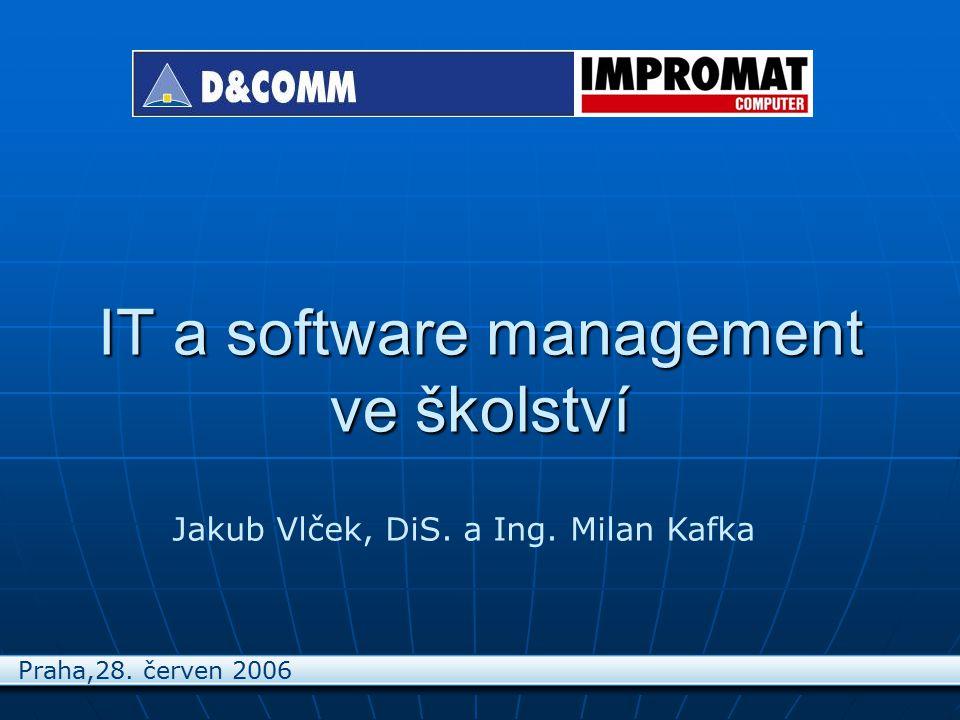 IT a software management ve školství Jakub Vlček, DiS. a Ing. Milan Kafka Praha,28. červen 2006