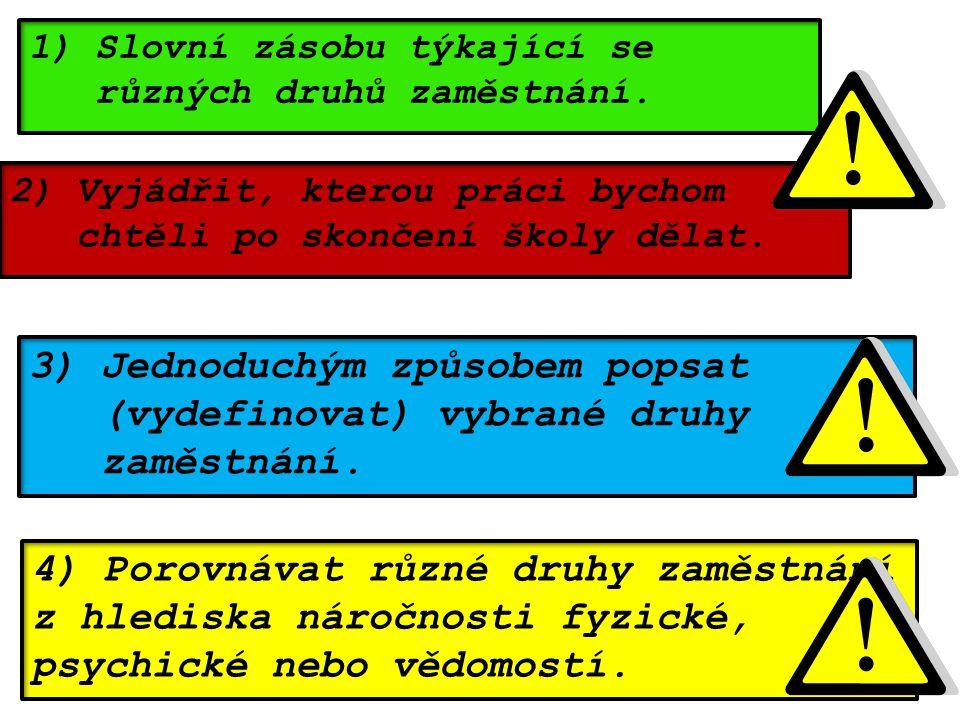 4) Porovnávat různé druhy zaměstnání z hlediska náročnosti fyzické, psychické nebo vědomostí. 1) Slovní zásobu týkající se různých druhů zaměstnání. 2