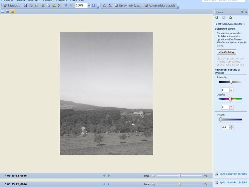 Jas, kontrast, střední tóny barev Druhá položka v nabídce je BARVA – otestujeme změnu sytosti barev Od přebuzených barevných odstínů lze přejít až k černobílé fotografii