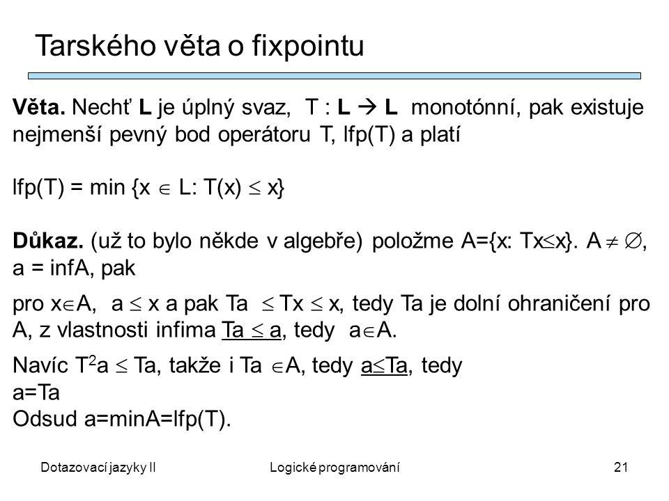Dotazovací jazyky IILogické programování21 Tarského věta o fixpointu Věta.