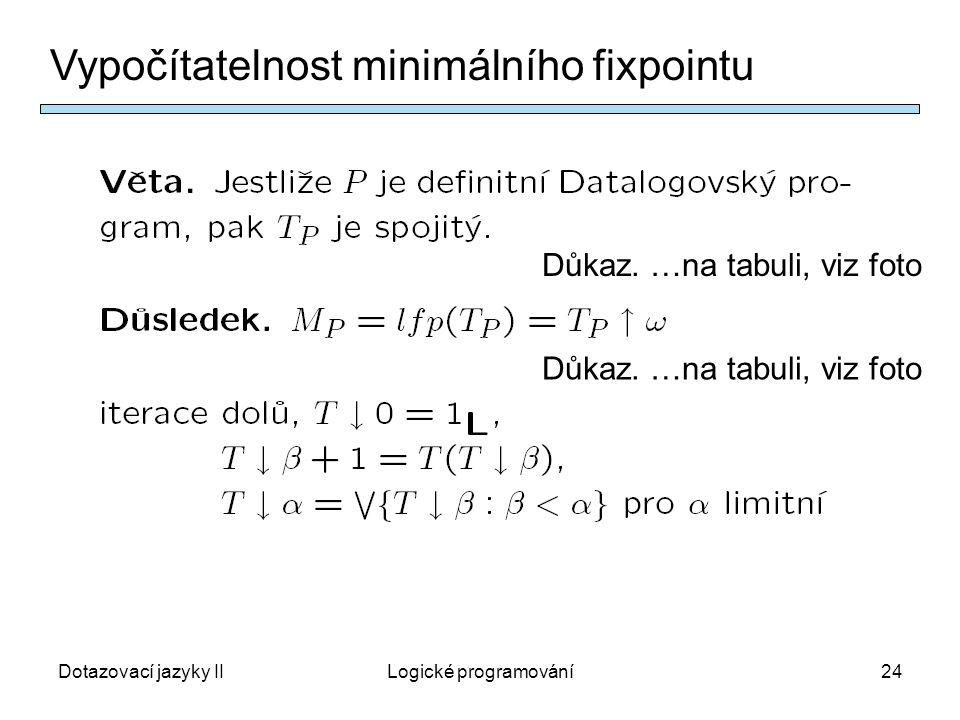 Dotazovací jazyky IILogické programování24 Vypočítatelnost minimálního fixpointu Důkaz.