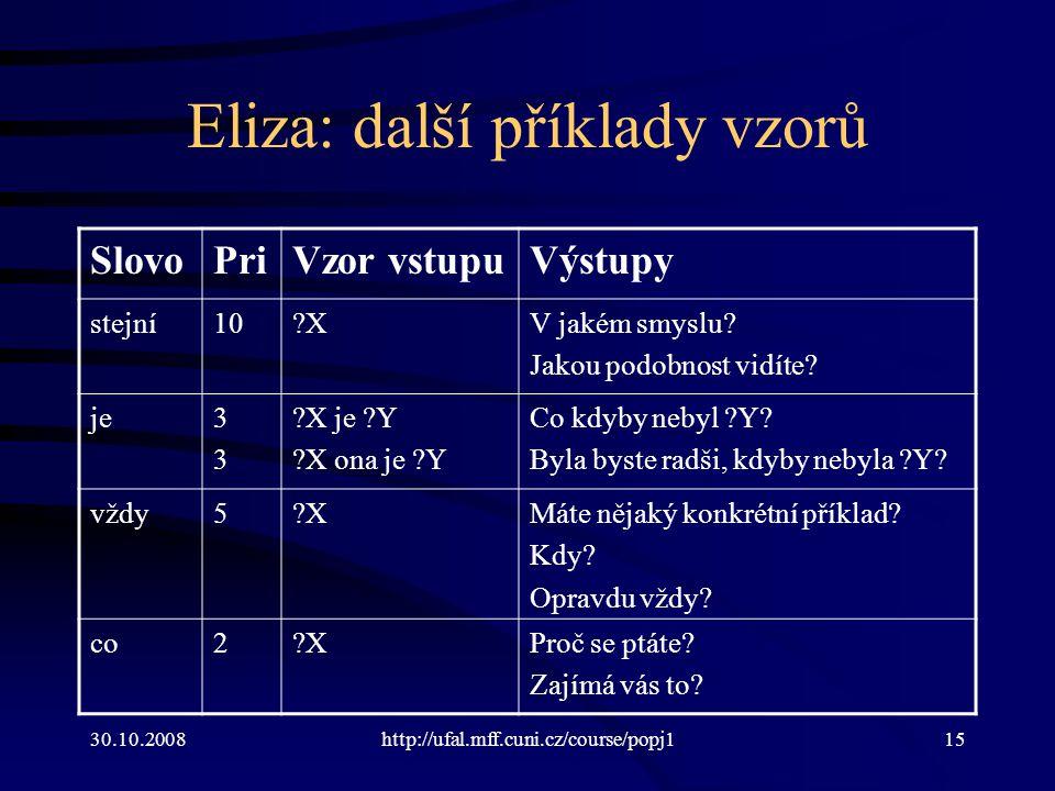 30.10.2008http://ufal.mff.cuni.cz/course/popj115 Eliza: další příklady vzorů SlovoPriVzor vstupuVýstupy stejní10?XV jakém smyslu? Jakou podobnost vidí