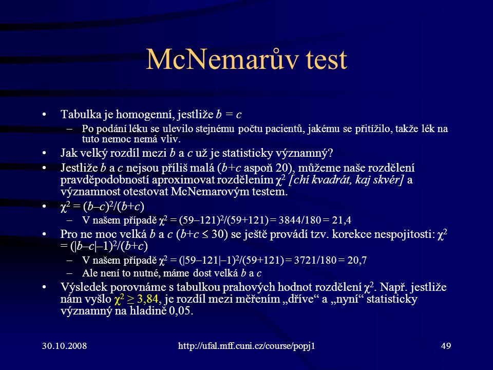 30.10.2008http://ufal.mff.cuni.cz/course/popj149 McNemarův test Tabulka je homogenní, jestliže b = c –Po podání léku se ulevilo stejnému počtu pacientů, jakému se přitížilo, takže lék na tuto nemoc nemá vliv.