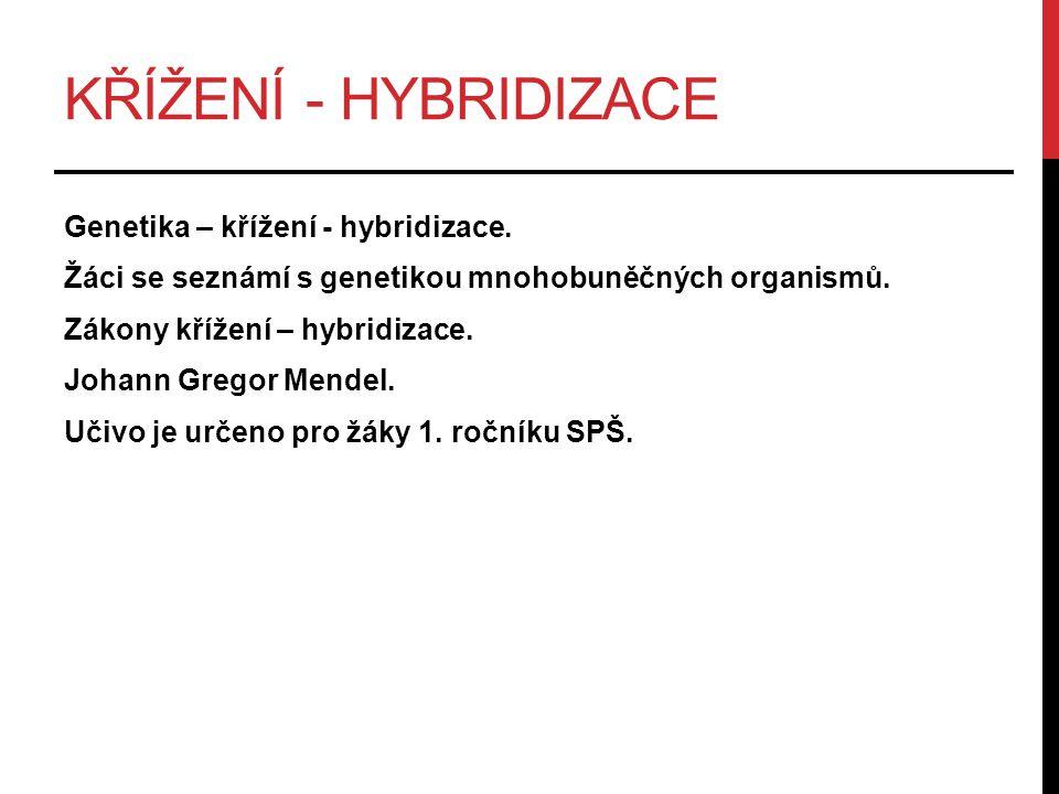 KŘÍŽENÍ - HYBRIDIZACE Genetika – křížení - hybridizace. Žáci se seznámí s genetikou mnohobuněčných organismů. Zákony křížení – hybridizace. Johann Gre