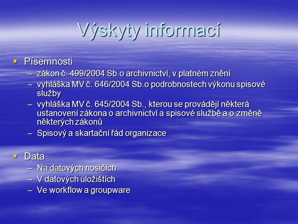 Výskyty informací  Písemnosti –zákon č.
