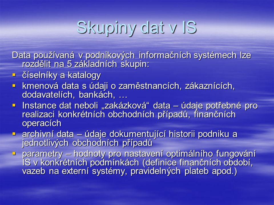 """Skupiny dat v IS Data používaná v podnikových informačních systémech lze rozdělit na 5 základních skupin:  číselníky a katalogy  kmenová data s údaji o zaměstnancích, zákaznících, dodavatelích, bankách, …  Instance dat neboli """"zakázková data – údaje potřebné pro realizaci konkrétních obchodních případů, finančních operacích  archivní data – údaje dokumentující historii podniku a jednotlivých obchodních případů  parametry – hodnoty pro nastavení optimálního fungování IS v konkrétních podmínkách (definice finančních období, vazeb na externí systémy, pravidelných plateb apod.)"""