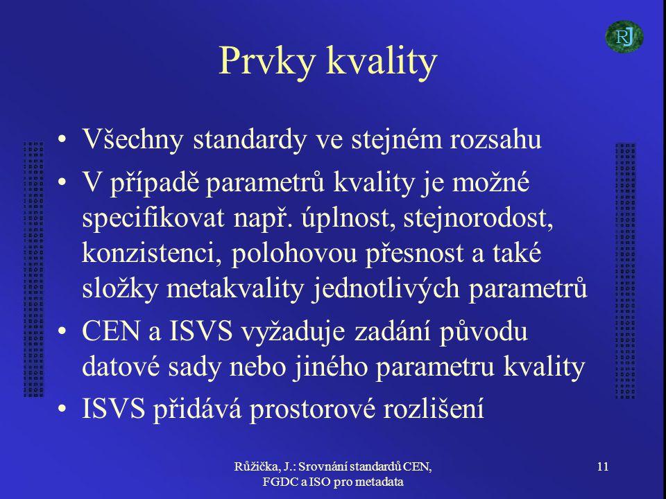 Růžička, J.: Srovnání standardů CEN, FGDC a ISO pro metadata 11 Prvky kvality Všechny standardy ve stejném rozsahu V případě parametrů kvality je možn