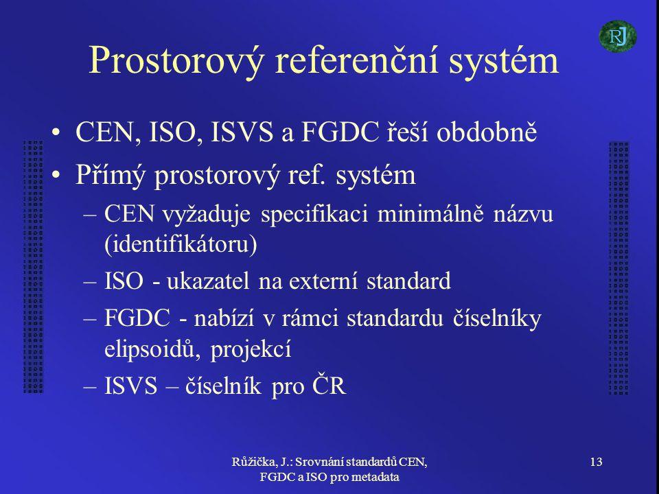 Růžička, J.: Srovnání standardů CEN, FGDC a ISO pro metadata 13 Prostorový referenční systém CEN, ISO, ISVS a FGDC řeší obdobně Přímý prostorový ref.